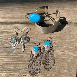 Silver and turquoise jewelry bundle